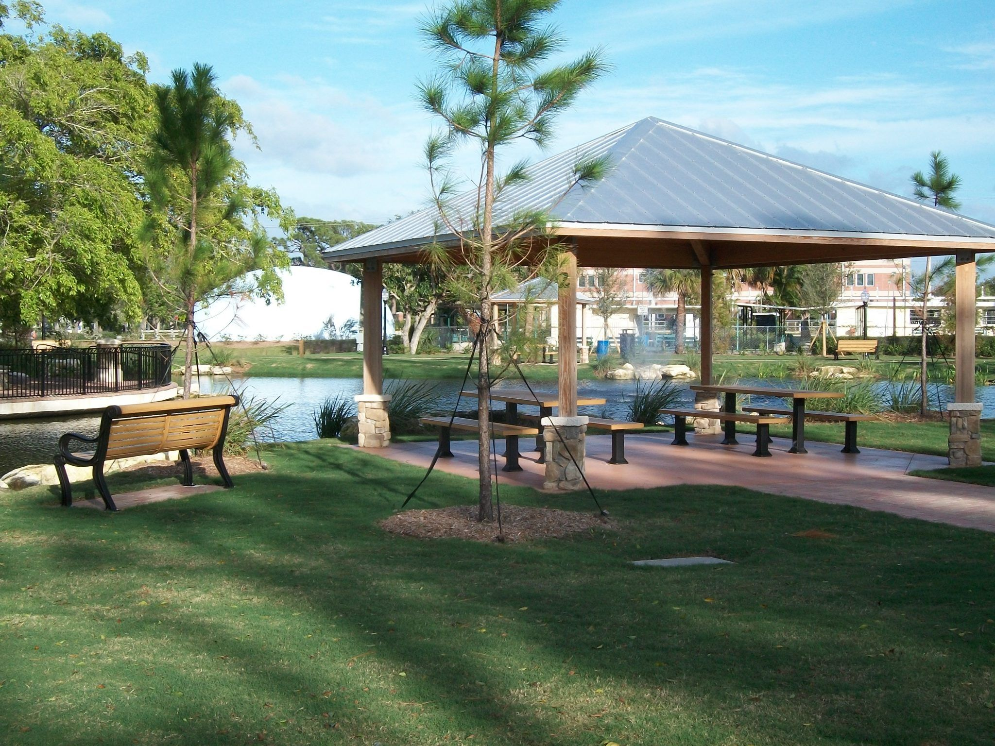Park with gazebo and benches