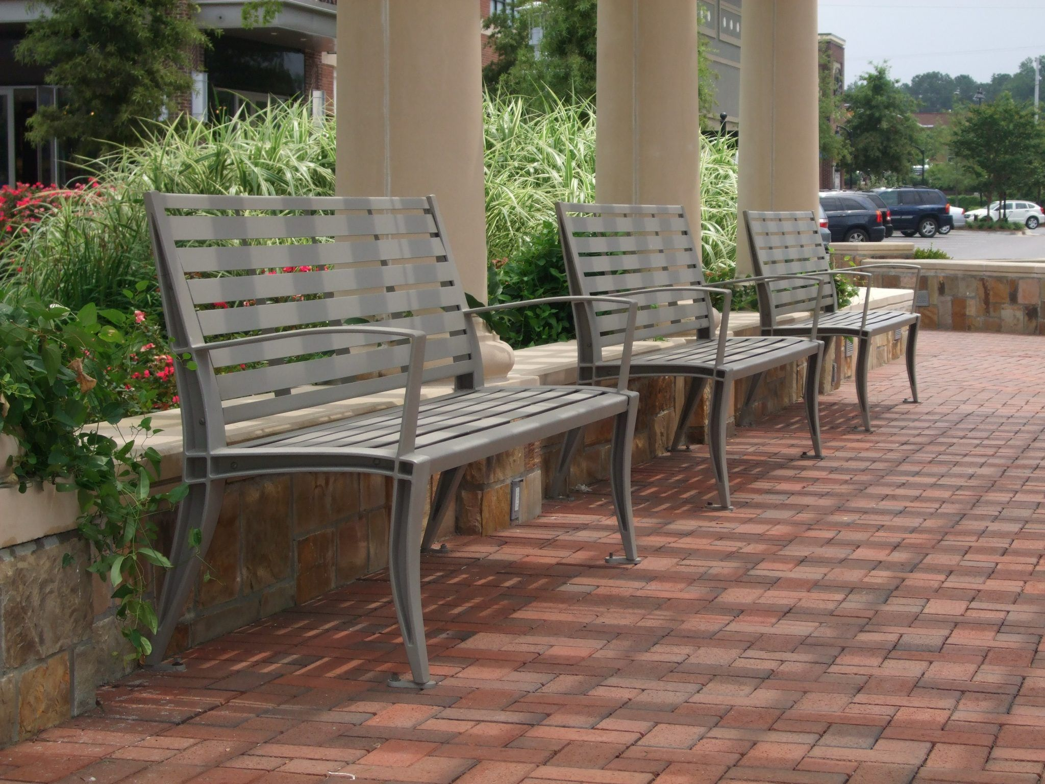 Benches in front of building columns