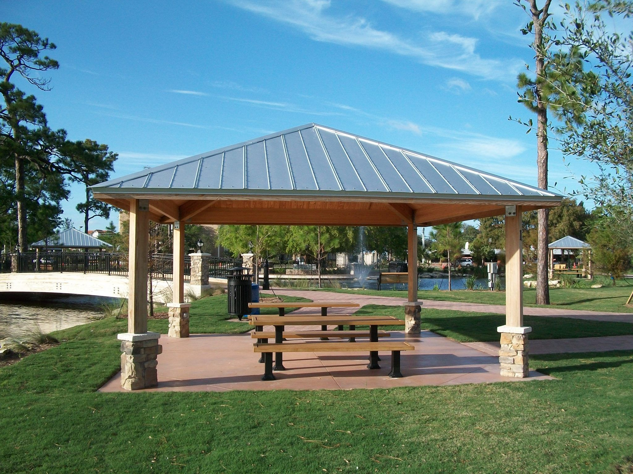 Park gazebo with picnic tables