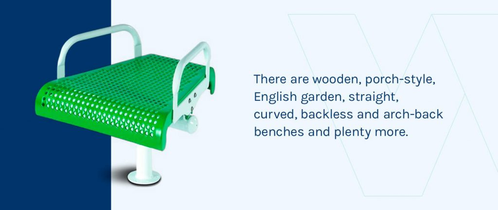 There are wooden, porch-style, English garden, straight, curved, backless and arch-back benches.